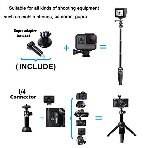 Selfie Stick, 40 inch Extendable Selfie Stick Tripod,Phone Tripod with Wireless Remote Shutter Compatible with iPhone Xs Max Xr X 8Plus 7 6 6s Plus, Android, Samsung Galaxy S10 S9,Gopro and More