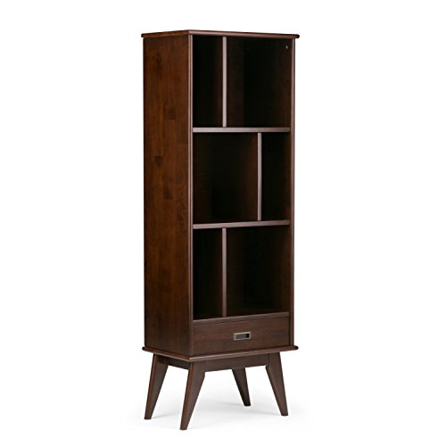 Simpli Home 3AXCDRP-12 Draper Solid Hardwood 64 inch x 22 inch Mid Century Modern Bookcase and Storage Unit in Medium Auburn Brown ()