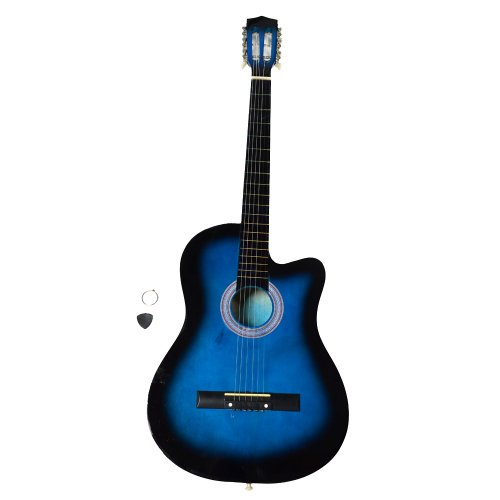 38'' Beginner Ballad Guitar Starter Package Student Guitar With Gig Bag,Strap and Pick,Blue by OASIS FOX