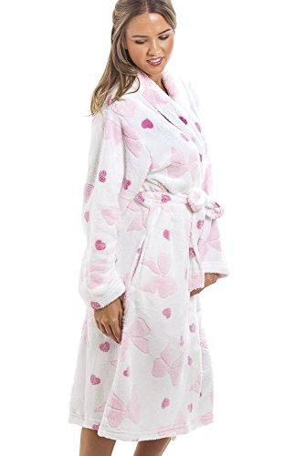 Camille - Robe de chambre en polaire douce - motif coeurs et noeuds roses - blanc 42/44