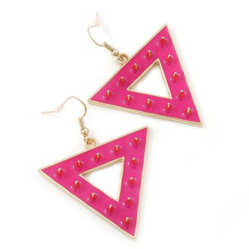 Boucles d'oreilles pendants triangulaire à piques roses néon groovy en plaqué or