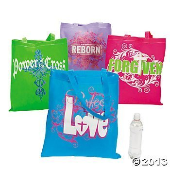 cc7238a356 Amazon.com   Wholesale Large Christian Tween Religious Tote Bags (12 Pack)    Cosmetic Tote Bags   Beauty
