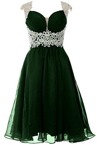 MACloth Women Cap Sleeve Lace Chiffon Short Prom Dress Wedding Party Formal Gown Verde Oscuro