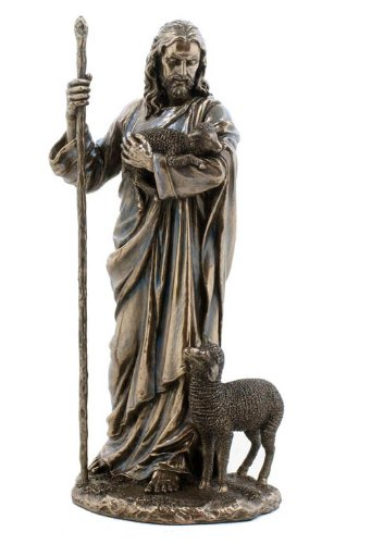 Jesus the Good Shepherd Statue Sculpture 11 ½-Inch (Bronze)