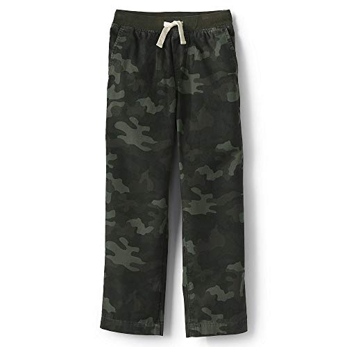 Lands' End Boys Slim Iron Knee Pull On Pants, S, Forest Night Camo ()