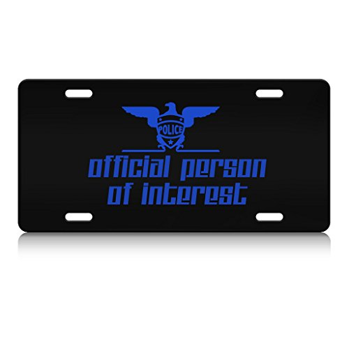 OFFICIAL PERSON OF INTEREST Police Cop Metal License Plate Frame Bl. -  Shirt Mania, HHSEVPL10010199