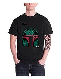 Star Wars Mens T Shirt Black Boba Fett Head logo Official