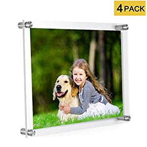 MeetU 8.5 x 11 Acrylic Picture Frames (4 Pack) -Inner 8x10 Wall Mount Photo Frame Frameless Clear Floating Frame for Document Certificate Artwork
