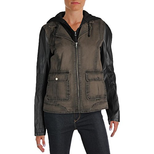 Kenneth Cole REACTION Womens Web Buster Fauz Leather Center Zip Jacket Green L
