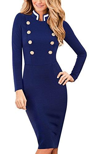 HOMEYEE El collar elegante del soporte de la vendimia de las mujeres de manga larga de negocios vestido B410 Azul oscuro