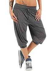 RISTHY Mujer Pantalones de Yoga 3/4 Pantalones Deportivos Harem Elástico Pantalón Polainas para Danza, Yoga, Ganduleado, Fitness