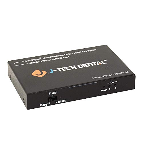 - J-Tech Digital Scaler/Multi-Resolution Output (MRO) 18GBps 1x2 HDMI 2.0 Splitter HDR10/Dolby Vision 4K@60Hz 4:4:4 [JTECH-18GSP12M]