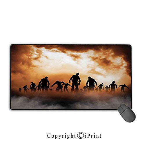 Extended Mousepad with Durable Stitched Edges,Halloween Decorations,Zombies Dead Men Body in the Doom Mist at Night Sky Haunted Decor,Orange Black,Suitable for laptops, computers, PCs, keyboards,15.8
