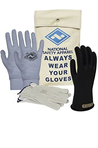 National Safety Apparel KITGC0009AG Class 00 Rubber Voltage Glove Premium Kit with FR Knit Glove, Size 9, Black by National Safety Apparel Inc