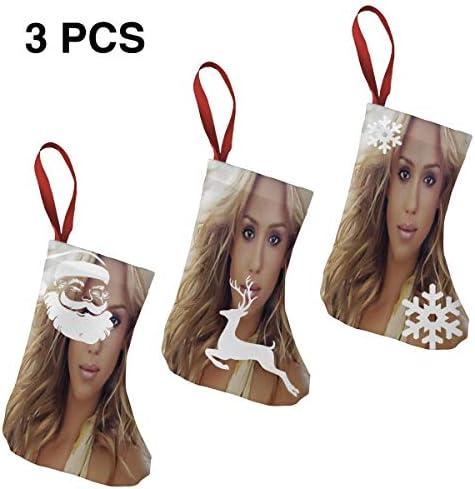 クリスマスの日の靴下 (ソックス3個)クリスマスデコレーションソックス Jessica Alba クリスマス、ハロウィン 家庭用、ショッピングモール用、お祝いの雰囲気を加える 人気を高める、販売、プロモーション、年次式