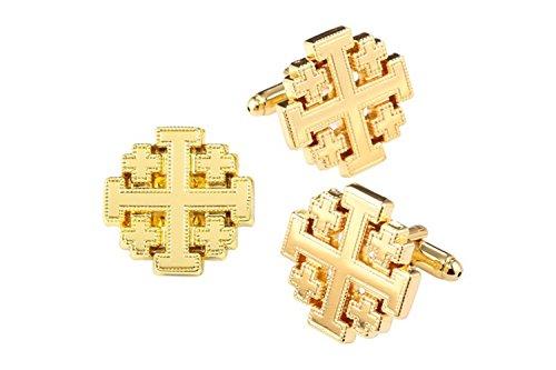 The Vatican Library Collection Gold-Tone Jerusalem Cross Cufflinks and Pin - Cufflink Cross
