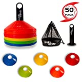 Urakn Sports Soccer Disc Cones 50 Units Set with Carry Bag Holder, Football Agility Drill Speed Training Equipment, Perfect for Practice (Disc Cones, 50 Unit Set)