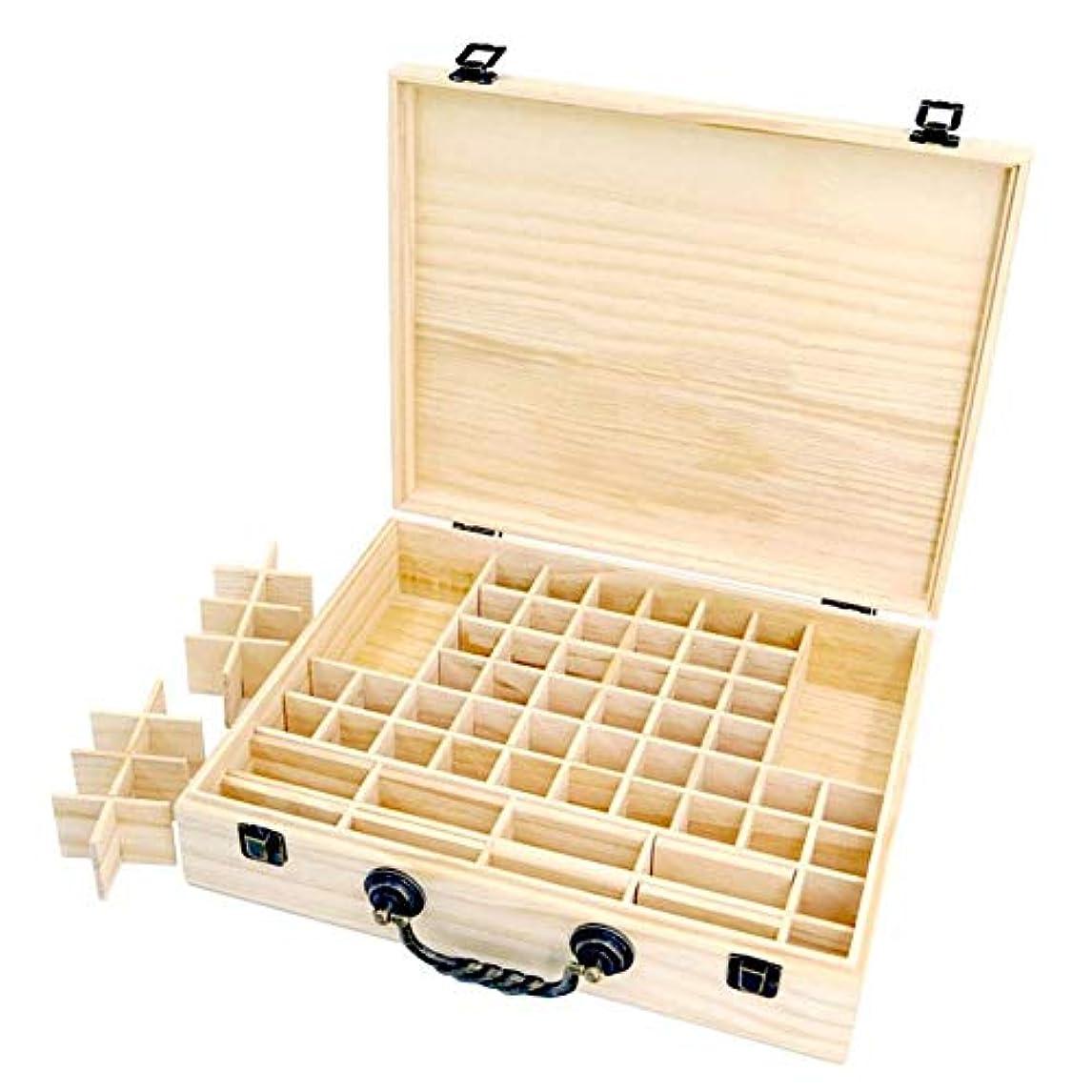 ご意見死傷者簡単にエッセンシャルオイル収納ボックス 収納ケース 保存ボックス パイン製 取り外し可能なメッシュ 70グリッド 持ち運び便利 junexi