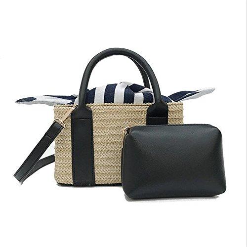 da tracolla di spiaggia paglia borse impostato viaggio ragazze fatti per borsette D estate borse casual mano Le donne d impostare a 41qxT