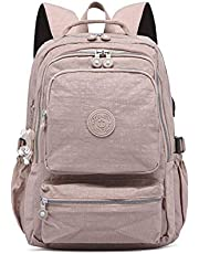 Backpack Multi-Function Travel, Waterproof Nylon wear-Resistant Decompression Student, Men's and Women's Travel and Leisure USB, Suitable for Business/Travel/Class, etc. Elise (Color : Khaki)