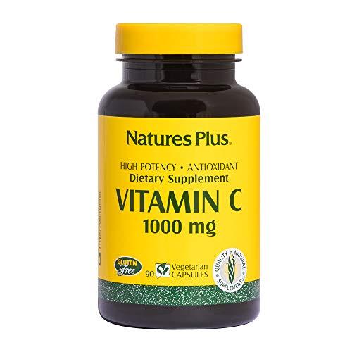 Natures Plus Vitamin C - 1000 mg Ascorbic Acid, 90 Vegetarian Capsules - High Potency Vascular & Immune Support Supplement, Antioxidant - Gluten Free - 90 Servings