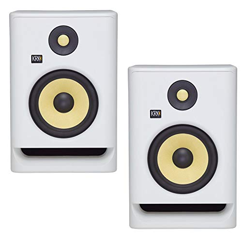"KRK RP5 Rokit 5 G4 Professional Bi-Amp 5"" Powered Studio Monitors, White Noise - PAIR"