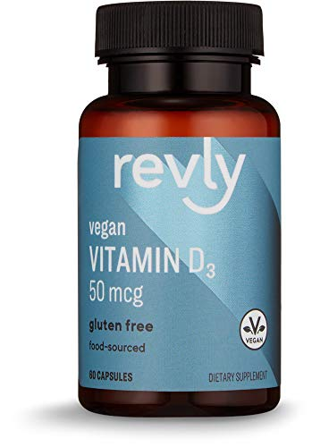 Amazon Brand - Revly Vegan Vitamin D3, 50 mcg (2000 IU) Per Serving (2 Capsules), 60 Capsules, Food-Sourced, Gluten Free