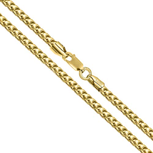 (Orostar Sterling Silver 3MM Franco Square Box Link Chain Necklace, 16-30 Inch (Yellow Gold, 22))