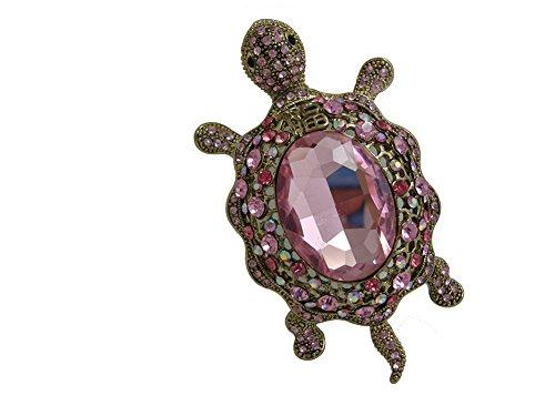 (TTjewelry Vintage Style Tortoise Crystal Brooch Turtle Rhinestone Pin Classic Woman Animal Decorative Jewelry (Pink))