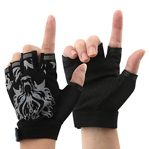 Boy Girl Child Children Kid Half Finger Fingerless Short Shock-Absorbing No-Slip Pro Cycling Gloves Mitten for Cycling MTB Exercise Skate Skateboard Roller Skating Other Sports (Black Wolf) (Cycling Wolf Men Shorts)