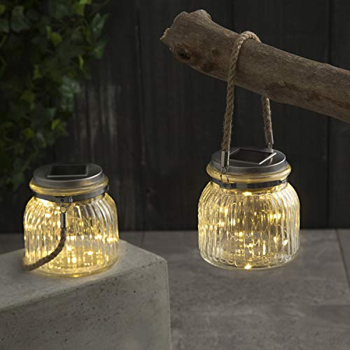 (Solar Mason Jar Lights - Set of 2 Outdoor Firefly Lanterns with 40 Warm White LED Fairy Lights, Built-in Solar Panels in Lid, Complete Lighted Decor Kit, Batteries Included)