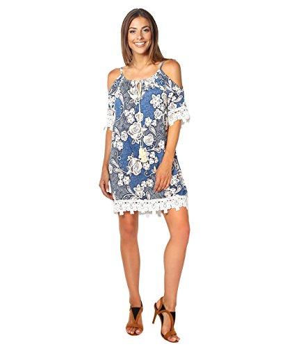 KRISP Vestido Mujer Flores Verano 2017 Estampado Hombros Descubiertos Azul