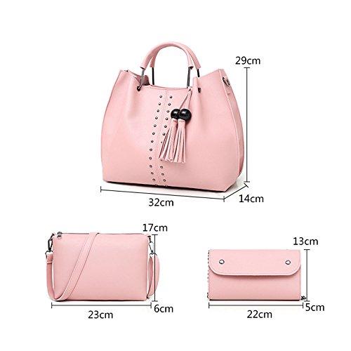 3 Leather Bags Satchel Sets Tassel Crossbody Lady Pu Womens Pcs Pink Bag Shoulder Handbag Tote Purse q45EPOw