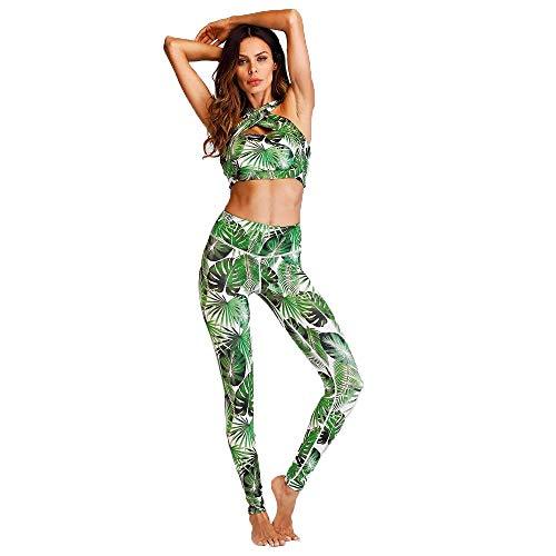 Estampado Mujer Con Ropa De Leggings Impacto Conjunto Ejercicios Acolchado Y Sujetador Gimnasio Para Gran Grün Deportiva Yoga Entrenamiento Elástico Floral xn84XqT