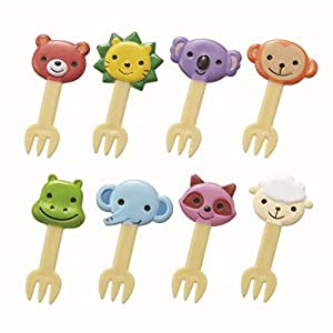Torune 8 Piece Bento Decoration Food Picks Forks Cute Animal for Lunch Box