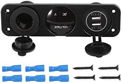 車のボート 3穴パネルデュアル シガレットライターソケット ブルー電圧計 ブルーデュアルUSB充電器 絶縁ターミナル USB充電器 DC 12V コンセントシガーライター ソケットプラグ デジタル 防水 キャップ