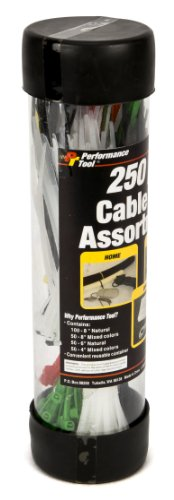 - Performance Tool W2918 250pc Varying Colors and Lengths Cable Ties Pack