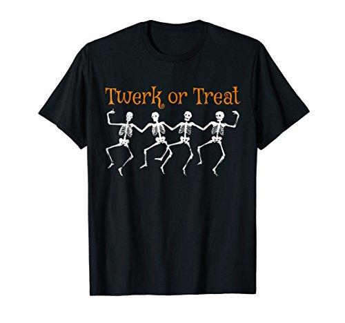 Funny Halloween Costume T-shirt Twerk or Treat Skeletons -