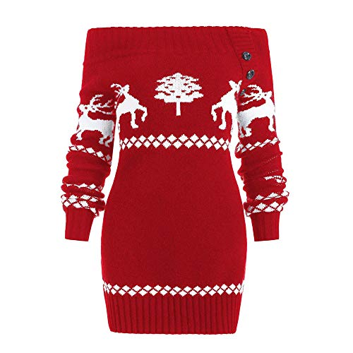 (URIBAKE  Women's Sweater Christmas Off Shoulder Tree Elk Woven Knitted Botton Sweater)