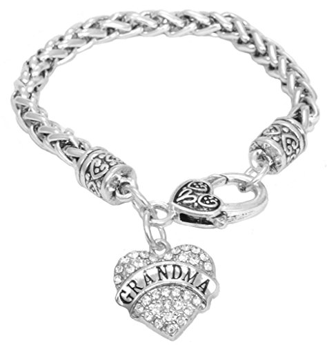 Grandma Crystal Heart Bracelet for Mother's Day Gift: Engraved Gift Jewelry For Grandma Crystal Adorned  Pendant Lobster Claw Clasp