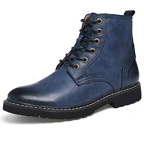 JIASUQI Casual Slip on Casual Shoes Martin Oxford Boots for Men Blue 10 M US