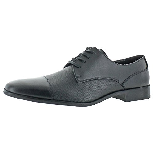 Calvin Klein Mens Gilray Leather Embossed Oxfords Black 10.5 Medium (D) by Calvin Klein