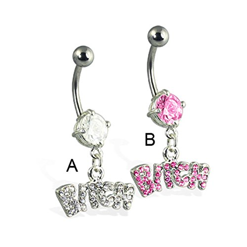 MsPiercing Jeweled Bitch Belly Button Ring, Pink - B