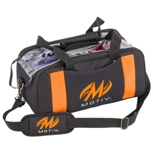 MOTIV Double Clear Top Tote Bowling Bag- Black/Orange