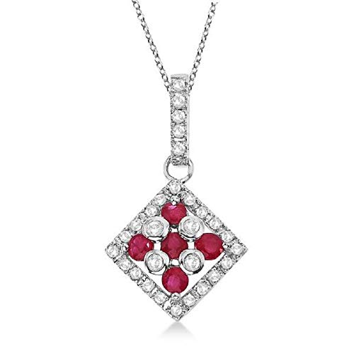 14K White Gold Finish 1.10Ctw Round Cut Ruby CZ Square Halo Pendant Necklace