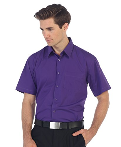 (Gioberti Men's Short Sleeve Solid Dress Shirt, Purple B, M)