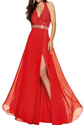 Ivydressing - Vestido de noche para mujer (con cuello en V) Rojo