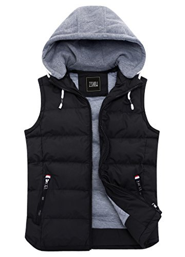 ZSHOW Men's Black Winter Removable Hooded Cotton-Padded Vest(Black