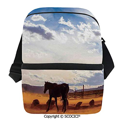 SCOCICI Cooler Bag Horse in Monument Valley Open Sky with Clouds in Arizona America Landscape Insulated Lunch Bag for Men Women for Kayak,Beach,Travel,Work,Picnic,Grocery