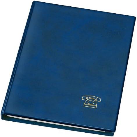 Veloflex 5158150 Telefonringbuch A5, Adressbuch, Telefonbuch, Weichfolie in Leder-Optik, mit Register, blau